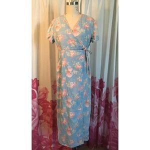 Floral print denim wrap maxi dress Crazy Horse Liz